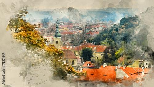 Plakat krajobrazy Pragi. Tło akwarela