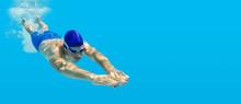 Tauchen Schwimmen Mann Sprung ...