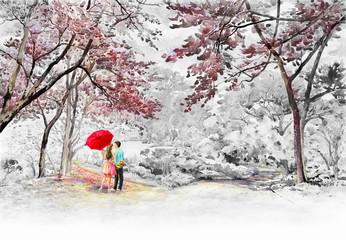 Fototapeta Drzewa Painting Wild himalayan cherry roadside in the morning