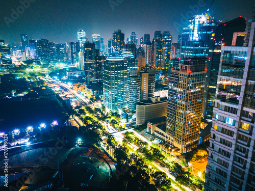 Aerial Views of Downtown Jakarta at Night