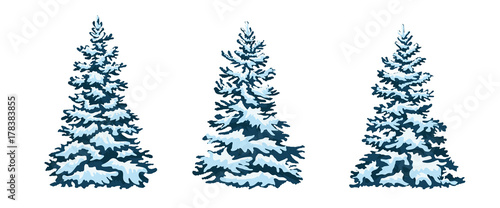 set: Christmas trees, isolated. snow-capped Christmas tree.