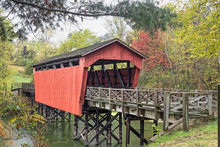 Covered Bridge Over Pond - Bel...