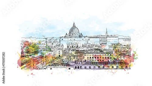 Photo Watercolor sketch with splash of View of Rome from Castel Sant' Angelo in vector illustration