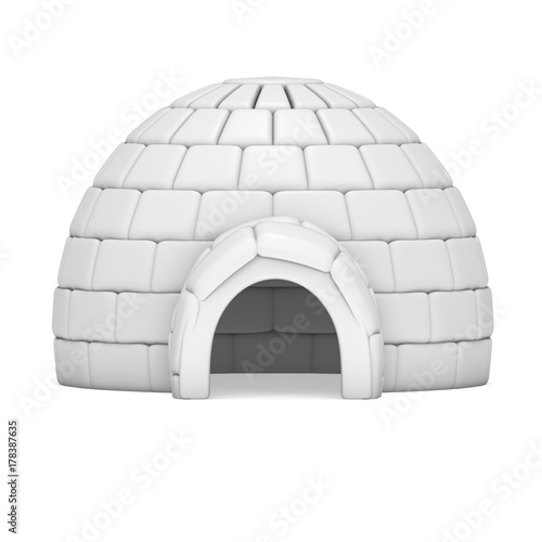 Poster Magie Igloo icehouse isolated on white background 3d render illustration. Snowhouse or snowhut. Eskimo shelter built of ice