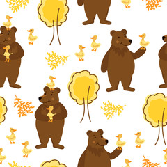 Fun background with bears, duck and trees. Original seamless pattern with forest animals.