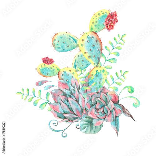 Leinwandbilder - Watercolor natural seamless pattern with cactus
