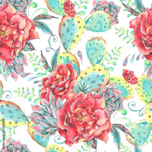 akwarela-bezszwowe-wzor-z-rozami-kaktus