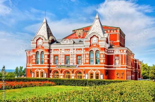 Historic building of drama theater in summer sunny day in Samara, Russia Canvas-taulu