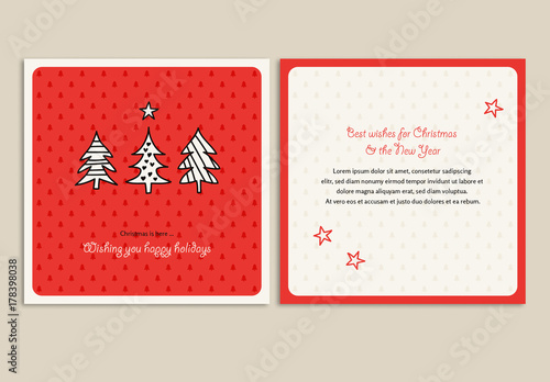 christmas card layout with tree illustrations - Christmas Card Layout