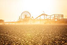 Golden Sunset On Santa Monica Beach