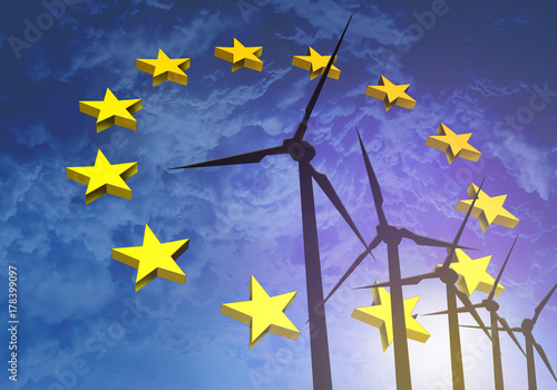 Obraz Wind turbines on the background of the flag EU Europe - fototapety do salonu