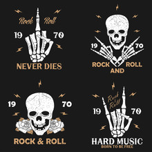 Rock Music Grunge Print For Apparel With Skeleton Hand, Skull And Rose. Vintage Rock-n-roll T-shirt Graphics Set. Design For Typography Clothes Emblem Collection. Vector Illustration.