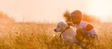 Young Child Boy Training Golden Retriever Puppy Dog In Meadow On Sunny Day