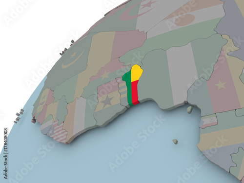Map of Benin with flag Wallpaper Mural