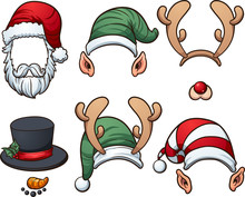 Christmas Hats. Vector Clip Ar...
