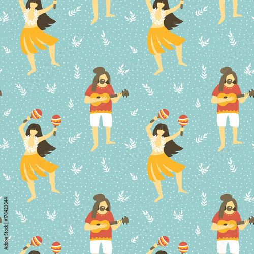 Materiał do szycia Wektor wzór na Hawajach. Lato na tle z taniec dziewcząt i mężczyzn, grając ukulele. Jasne etnicznym stylu.