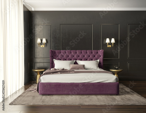 Classic luxury modern chic bedroom with tufted bed front view - Buy ...