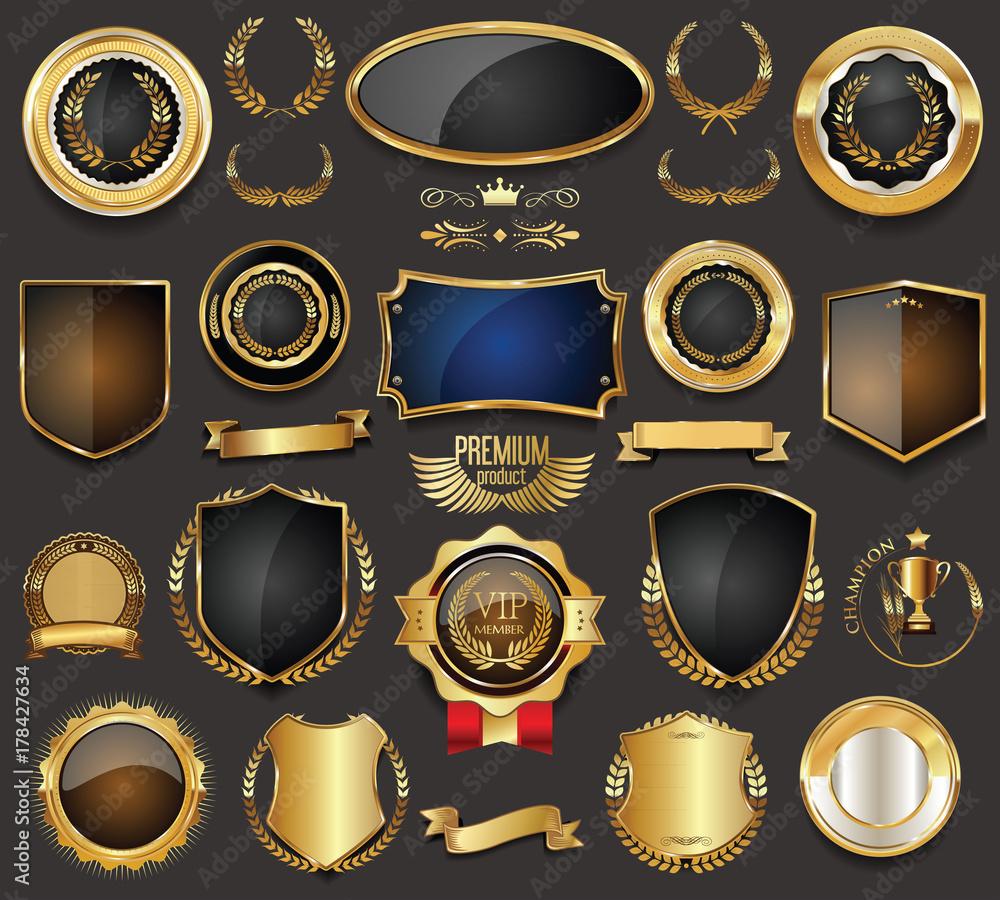 Fototapeta Golden sale frame badge and label vector collection