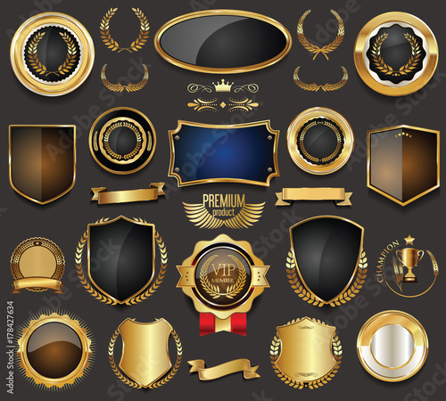 Obraz Golden sale frame badge and label vector collection  - fototapety do salonu
