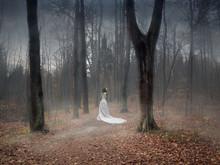 A Girl In A Bride's Dress Is W...