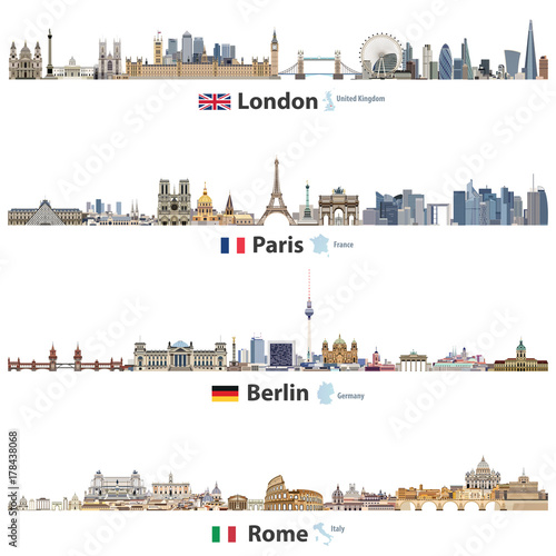 Map Of Germany And Italy With Cities.Vector Illustration Of London Paris Berlin And Rome City Skylines