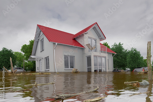 Obraz na plátne 3d render of a flooding white house - force of nature