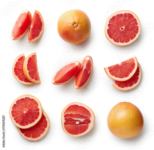 Fotografia  Fresh grapefruit isolated on white background