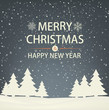Christmas and new year snowbound greeting card with Christmas trees. Evening winter landscape.