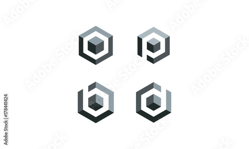 Fototapeta cube icon logo illustration