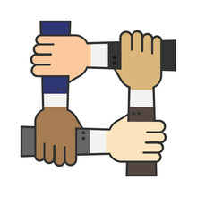 Four Hands Hold Together For The Wrist Other. Four Connected Hands. Symbol For Togetherness. Isolated On White Background. Vector Illustration.