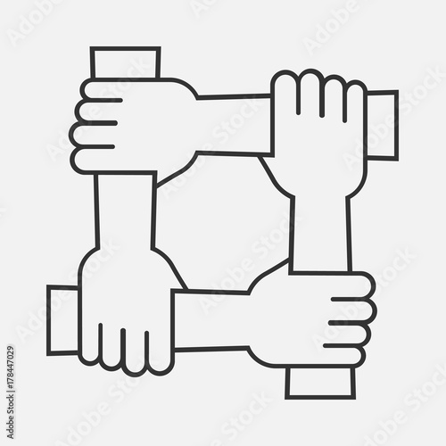 Four Hands Hold Together For The Wrist Other Four Connected Hands