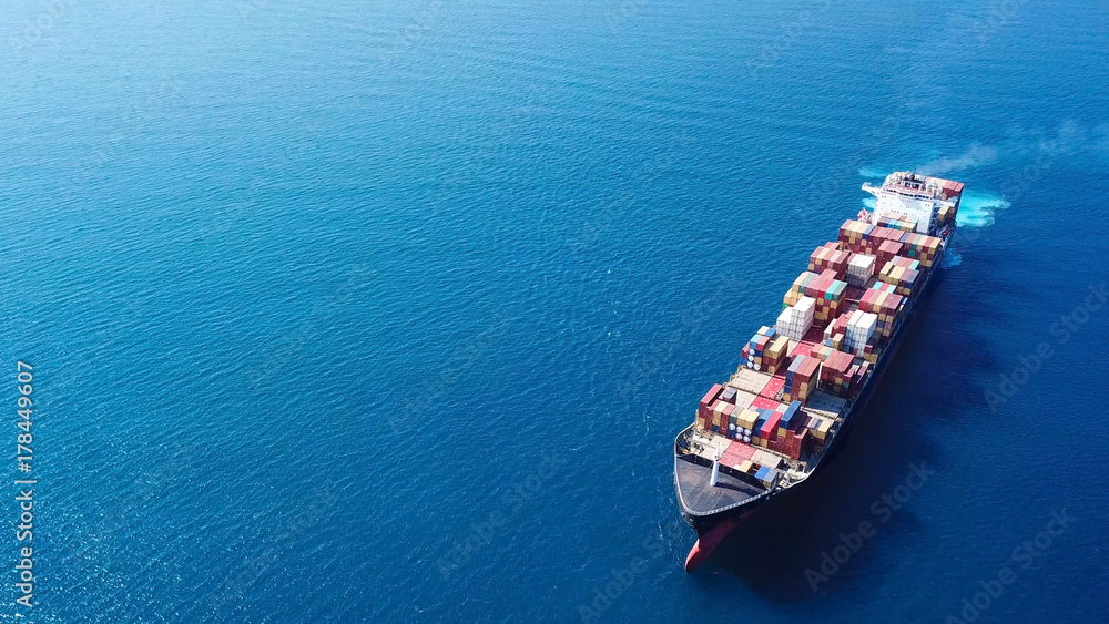 Fototapety, obrazy: Ultra large container vessel (ULCV) at sea - Aerial image
