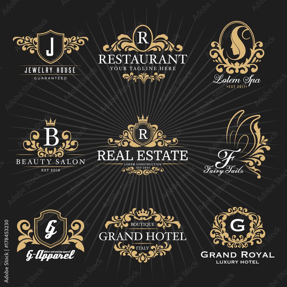 Fototapeta Vintage Royal Heraldic Monogram and Frame Logo Decorative Design