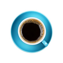 Full Black Coffee In Blue Cup ...