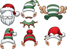Cartoon Christmas Hats. Vector...