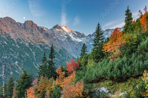 Zdjęcie XXL Tatry, Rysy, najwyższy szczyt Polski, jesienny wieczór