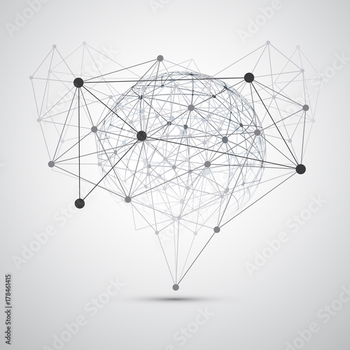 Foto Black and White Modern Minimal Style Cloud Computing, Connections, Networks Stru