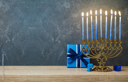 Hanukkah celebration with menorah