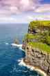 canvas print picture - Cliffs of Moher Klippen Irland Reise Meer Natur Hochformat Ozean
