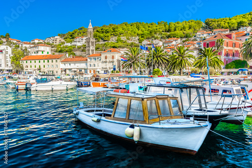 Canvas Prints Ship Hvar town travel resort. / Waterfront summer view at famous luxury travel resort in Europe, Hvar town scenery.