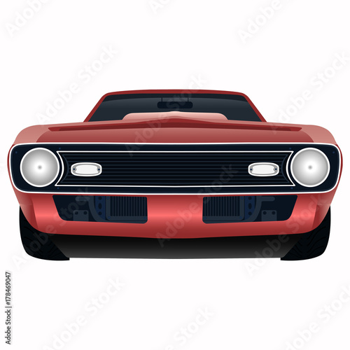 Front View Of The Powerful Red Car Vector Illustration Buy This