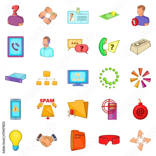 Photo Approximate income icons set, cartoon style