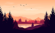 Vector Cartoon Sunset Landscap...