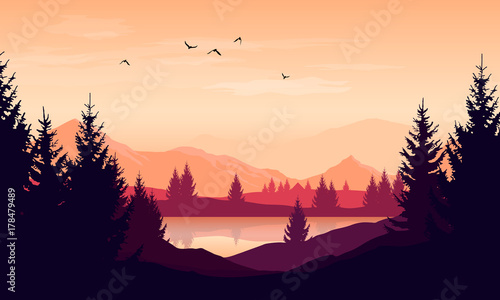 Foto op Plexiglas Purper Vector cartoon sunset landscape with orange sky, silhouettes of mountains, hills and trees and lake