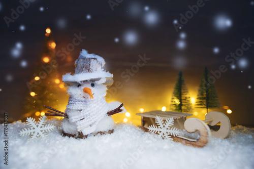 Zdjęcie XXL Boże Narodzenie - tło zima bałwana