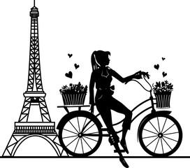 Elegancka piękna dziewczyna na bicyklu