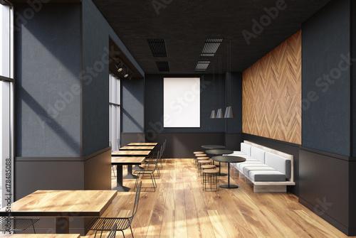 Zdjęcie XXL Wnętrze szarej kawiarni, plakat