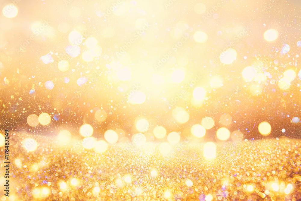 Fototapety, obrazy: glitter vintage lights background. dark gold and black. de focused.