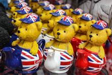Teddy Bears In Teapots In A Souvenir Shop