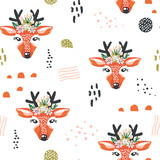Seamless pattern with deers and drawn elements. Creative woodlan background. Perfect for kids apparel,fabric, textile, nursery decoration,wrapping paper.Vector Illustration - 178487221